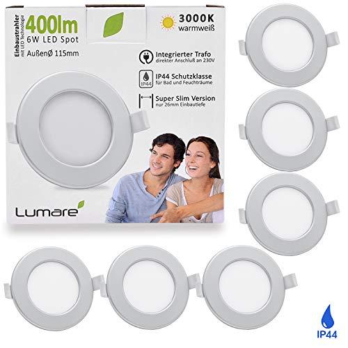 Lumare LED Einbaustrahler 6W 230V IP44 Ultra flach 6er Set Wohnzimmer, Badezimmer Einbauleuchten silber rund 26mm Einbautiefe Mini Slim Decken Spot warmweiß
