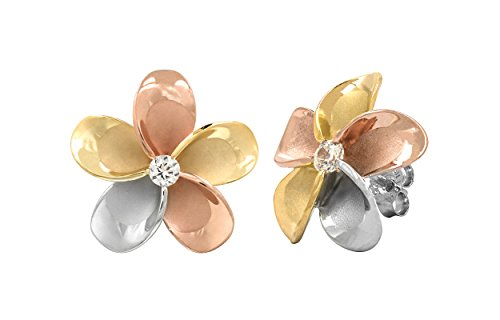 14k Gold Tri-Color Plated Sterling Silver Plumeria CZ Stud Earrings (11 Millimeters) 14k Gold Hawaiian Flower