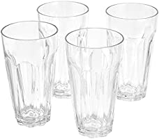 AmazonBasics Tritan Working Style Highball Glasses - 24-Ounce, Set of 4
