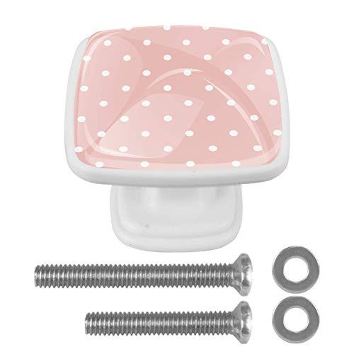 4 pomos de cristal para armario de 30 mm, tiradores de cristal para cajones de cocina, baño, 3 cm, diseño de lunares, color rosa pastel y blanco