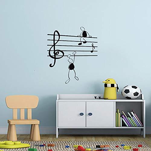 Lamubh Pegatina de Pared Notas Musicales Chicos Divertidos para Sala de Estar Pegatinas de Vinilo Instrumentos de Arte Aviones creativos con Nubes 58cm X 65cm