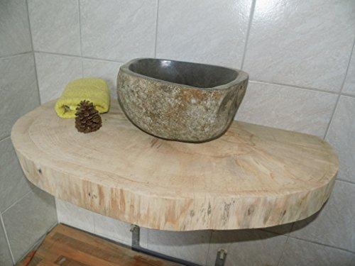 KJR Holzmanufaktur Waschtischplatte, Baumscheibe, ca. 110 x 50 x 6 cm, Waschtisch, geschliffen