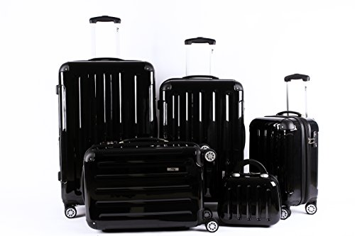 5 Teiliges Kofferset M L XL XXL + Beautycase Polycarbonat/ABS Trolley Koffer Bordcase Set Hartschale Reisekoffer Kofferset TSA Schloss (Schwarz)