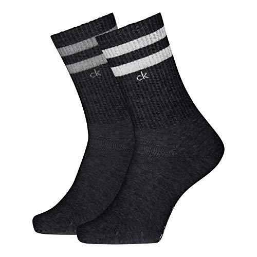 Calvin Klein Crew 2p Stripes Casual Maurice Socks Calcetines, Gris, 39-42 (Pack de 2) para Hombre