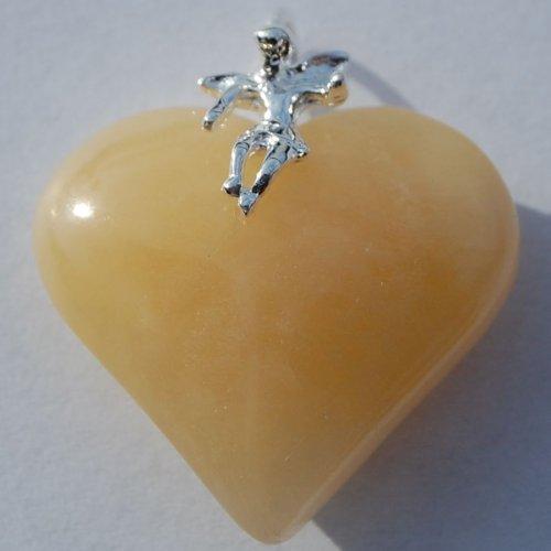 Corazón de-remolque (Calcita De colour naranja) con diseño de ángel de la guarda (plata) 25 mm