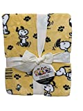 Berkshire Home & Blanket Co. Peanuts Gang Snoopy Happy Dance Velvet Soft Plush Throw Blanket   50' x 70'   Yellow