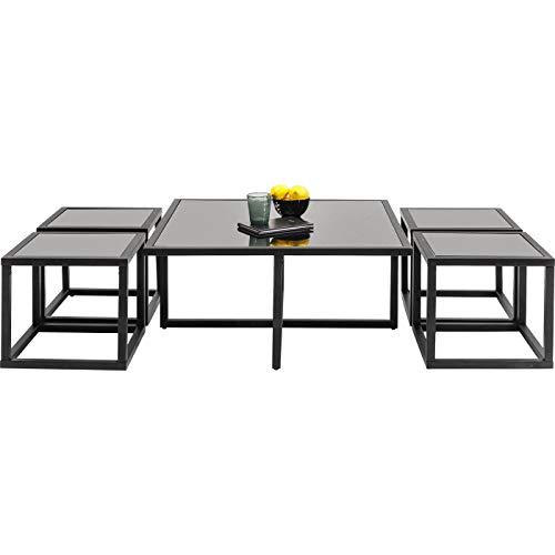 Kare Design - Table Basse Design Noir + 4 Tables d'appoints Quad
