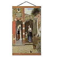 ピーテル・デ・ホーホ《デルフトの家の中庭》帆布絵画絵画壁の装飾家の装飾額縁70X50Cm