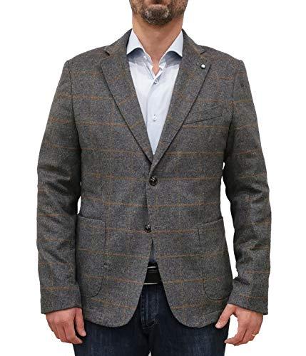 Exigo Chaqueta de hombre gris con estampado Blazer de tela de lana gris 52