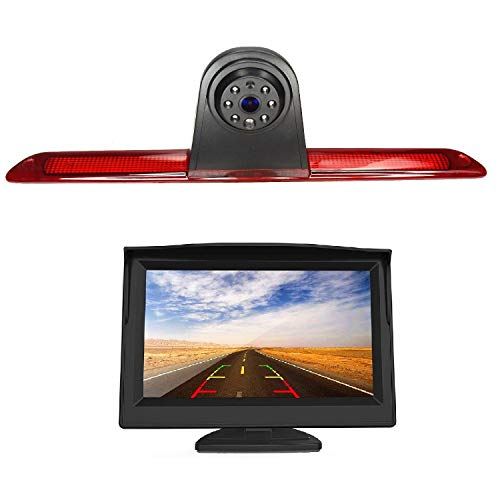HD 720p 3. Bremsleuchte, Rückfahrkamera-Set, 12,7 cm (5 Zoll) LCD-Rückfahrkamera mit IP68 wasserdicht, Nachtsicht, Rückfahrkamera, kompatibel mit MB Mercedes Sprinter W906 1500 2500 Crafter
