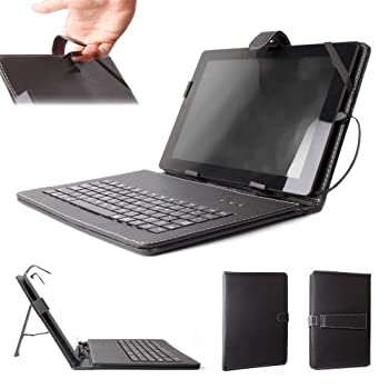 DURAGADGET Custom-Designed Black PU Leather Cover w/QWERTY Keyboard & Stand - Compatible with Microsoft Surface RT   Surface 2   Surface 3   Surface Pro & Surface Pro 2