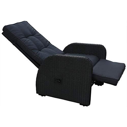 KMH®, Polyrattan Liegestuhl Bob inklusive Auflage! (schwarzes Polyrattan - anthrazitfarbene Auflage) (#106058)