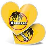 Impresionante 2 pegatinas de corazón de 7,5 cm – Menorca Sunset Travel Holiday sello divertido para portátiles, tabletas, equipaje, libros de chatarra, neveras, regalo genial #7122