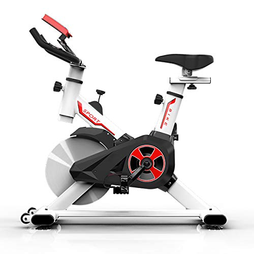 MARXIAO Indoor Cycling Heimtrainer Stationäre Riementrieb Spin Bike für Heim Cardio Gymnastik-Training,Weiß