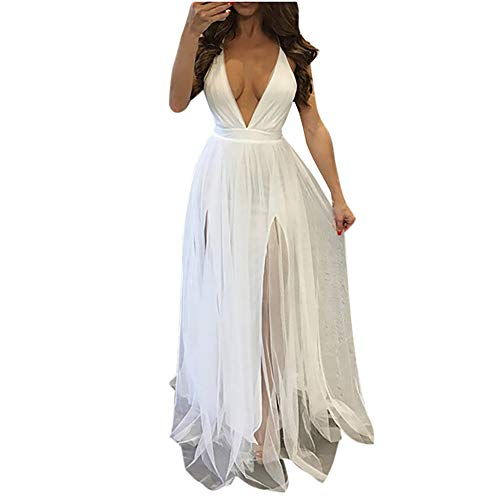 Aniywn Women Sexy Deep V Neck Sleeveless Long Halter Party Dress Mesh Sheer Wedding Maxi Dress White