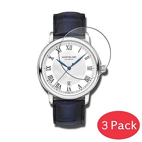 VacFun 3 Piezas Vidrio Templado Protector de Pantalla para MONTBLANC 42mm 119956, 9H Cristal Screen Protector Sin Burbujas, Alta Definición Película Protectora Reloj Inteligente Smartwatch Pulsera