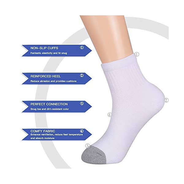 OMECHY 12 Pairs Mens Ankle Socks Athletic Cotton Moisture Wicking Heavy Full Cushion Casual Sock