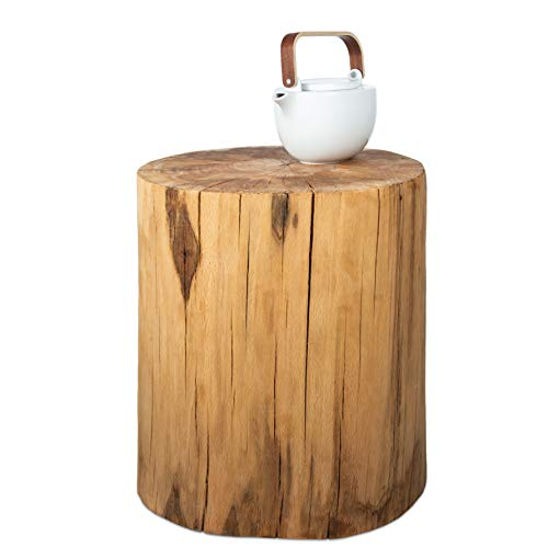 GREENHAUS Baumstamm Beistelltisch rund 25-30 cm Buche massiv Handarbeit und Massivholz aus Deutschland Holzstamm Nachttisch