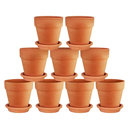 Terra Cotta Pots with Saucer- 9-Pack Clay Flower Pots with Saucers, Mini Flower Pot Planters for Indoor, Outdoor Plant, Succulent Display (3 inches)
