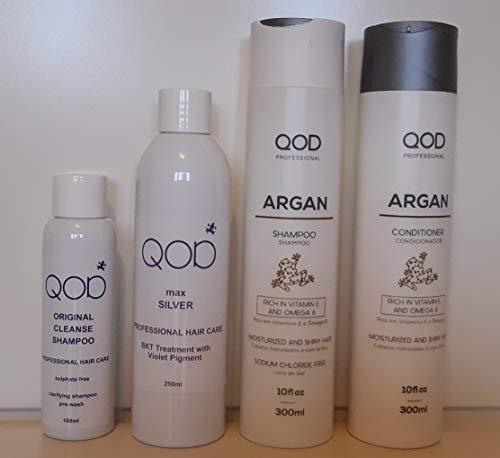 Organic Brasilianische Keratin QOD MAX SILVER Haarglättung 100% Formaldehydfrei 4er Kit (1x100ml+1x250ml+2x300ml)