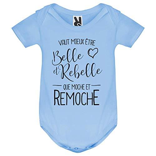 LookMyKase Body bébé - Vaut Mieux Etre BeLe et Rebelle - Bébé Garçon - Bleu - 9MOIS