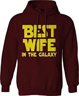 "Felpa con cappuccio con scritta ""Best Wife in the Galaxy"", con scritta ""Mom Wife StarWars"", idea regalo divertente per adulti"