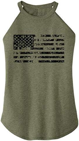 Ladies Tri Blend Rocker Tank Top Distressed American Flag Patriotic July 4th Military Green product image