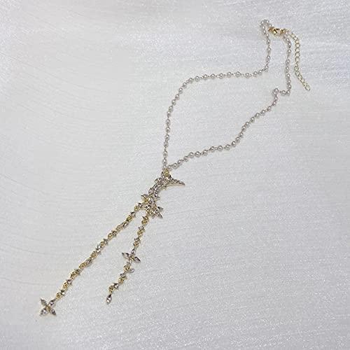 WDBUN Collar Colgante Joyas Elegante Luna asimétrica Pendientes Largos Moda para Mujer Flor de circón Cadena de clavícula Retro Víspera de Todos los Santos Navidad Fiesta de cumpleaños Regalo