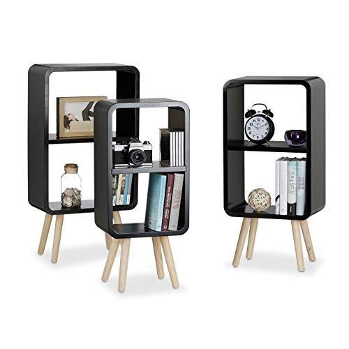 Relaxdays Standregal 3er Set, Wohnzimmerregale zur Aufbewahrung mit je 2 Fächern, MDF Holzregal in 3 Größen, schwarz