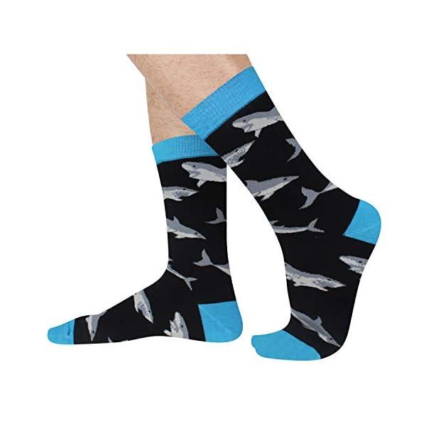 SOCKFUN Funny Crazy Novelty Socks, Shark Whale Narwhal Gift Socks For Men Boy