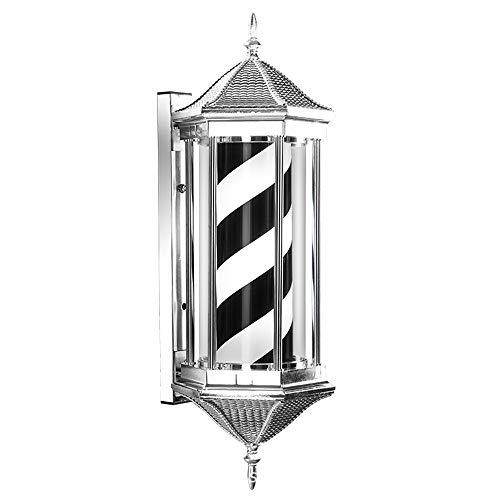 YZT QUEEN Barber Pole Light, retro klassiek gestreepte, zeshoekige, draaibare kapperslamp voor wandmontage, kapsalonverlichtingslogo