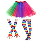 Faylapa 1970s 1980s Fancy Outfits,3 in 1 Rainbow Costume Accessories,Rainbow Tutu Skirt,Knee High Socks and Long Gloves for Cosplay Party Theme Party