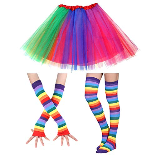 Faylapa 1970s Fancy Outfits Rainbow Costume Accessories for Cosplay Party