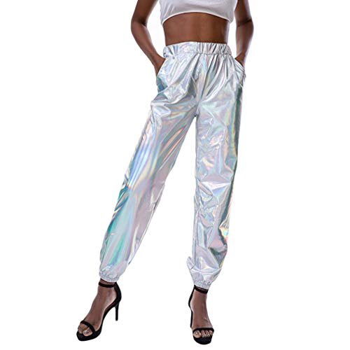 hibote High Eaist Dance Bühnen Auftritt Party Disco Fun Musik Festiva Hosen Frauen Hip Hop Night Club Metallic Hologramm Shiny Pants