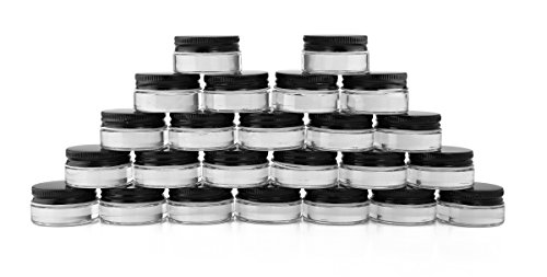 7-Milliliter Glass Lip Balm Jars (24-Pack).25-Ounce Thick-Walled Containers (7ml Clear with Black Metal Lids) (0.25 Ounce Glass)