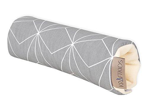 KraftKids Armschoner für Babyschale in weiße dünne Diamante auf Grau, Tragegriff mit 28 cm Länge, Armpolster für angenehmes Tragen der Babyschale