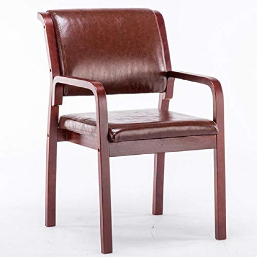 hljiayin Nordic Esszimmerstuhl Alter Mann Lehne Sessel modern schlicht Massivholz Stuhl Brown Pu Peel Walnut Frame