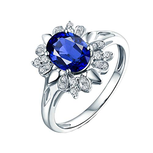 AnazoZ Anillo Mujer Plata Zafiro,Anillos para Mujer Oro Blanco 18K Plata Azul Oval Flor Zafiro Azul 1.62ct Diamante 0.17ct Talla 18,5