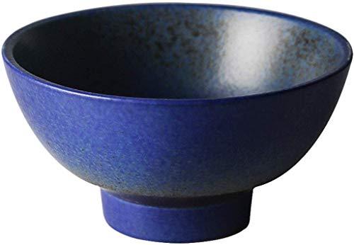BABYCOW Cuenco de cerámica japonés Creativo Retro alfarería Gruesa vajilla de arroz hogar Cuenco de Suelo Grueso de pie Alto Hecho a Mano microondas (Color: Azul)