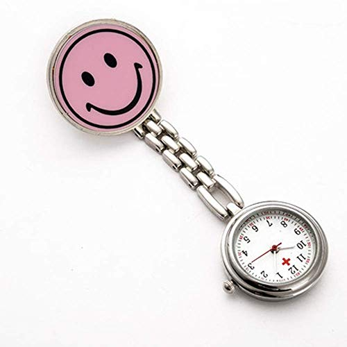 Retro Zhicaikeji Nurse Watch Smiley Enfermera Colgando Reloj Cronómetro Masculino y femenino Reloj de bolsillo de cuarzo Fácil de leer Fácil de llevar (Color: Rosa, Tamaño: Un tamaño) Pocket watch