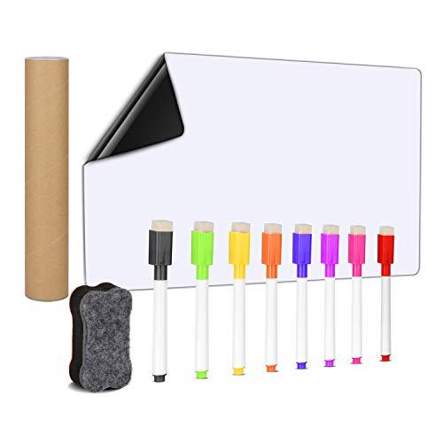 MOKIU Tableau Blanc Magnétique A3+ effacable pour Frigo Planning aimanté frigo Liste de Courses magnetique, Gribouillis Enfants Tableau Aimanté Inclut 8 Stylos Marqueurs et Effaceur