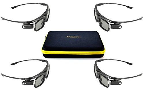 4x Hi-SHOCK Dual Play DLP Link 3D-Brille Black Jade   Aktive 3D Brille für 3D DLP Beamer kompatibel mit Acer, BenQ, Optoma, LG - DualView SimulView Tech [96-144 Hz   wiederaufladbar   Set]