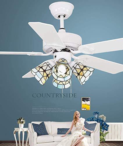 Ventilador De Techo De Tiffany con Modernos Ventiladores De Techo De Luz, Led De 42 Pulgadas con 5 Palas De Madera Decorativa Lámparas De Techo Ventiladores Lejos De La Transmisión,Contro.