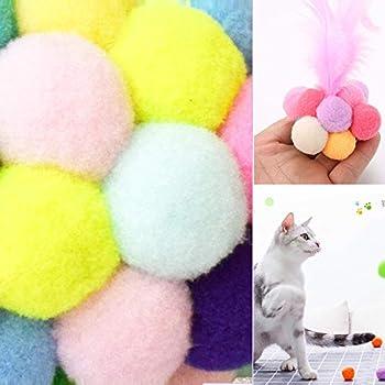 Chingde Boules de Chat colorées, 32 pièces Balle en Peluche pour Chat avec Boule élastique pour Chat en Plumes Balle en Cloche pour Animaux de Compagnie résistante aux Rayures