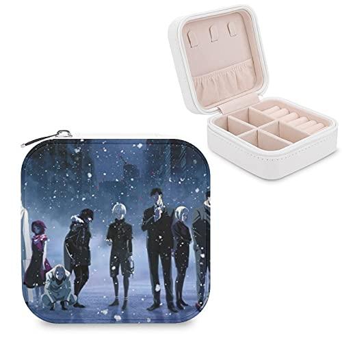 Dongjin Ghoul - Caja de almacenamiento portátil de piel sintética de viaje, utilizada para guardar pequeños anillos de joyería, pendientes, collares