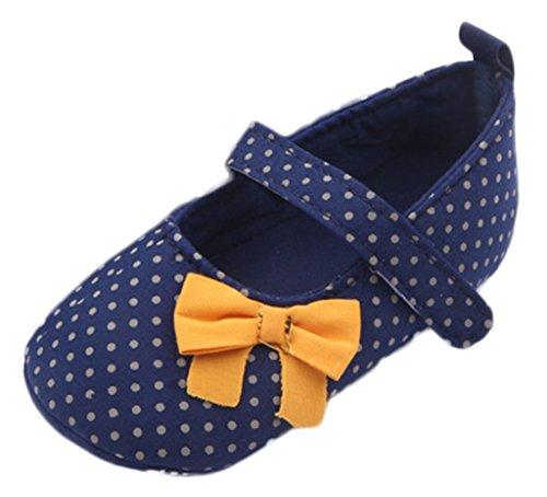 Bigood Chaussure Bébé Naissance Princesse Nœud Papillon Pois Cadeau Semelle 11cm