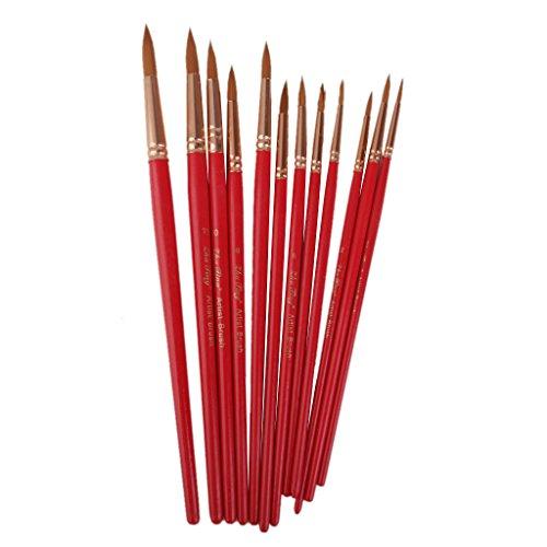 12 pezzi assortiti dimensioni artista pittura circa spazzole l'esecuzione