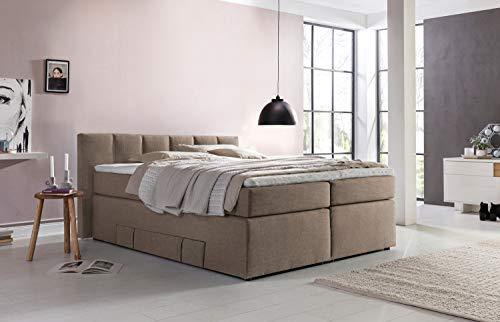 Möbelfreude® Andybur boxspringbed 160x200cm beige/grijs H3 | 7-zone pocketvering matras & visco-topper | 90 cm hoog hoofdeinde ideaal voor schuine daken + bedkast voor opbergruimte