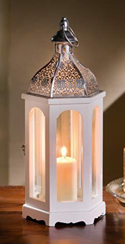 """Dekoleidenschaft Laterne """"Marrakesch"""", weiß, 41 cm hoch, orientalisches Design, Windlicht aus Holz mit Glas, Metalldach & Griff"""