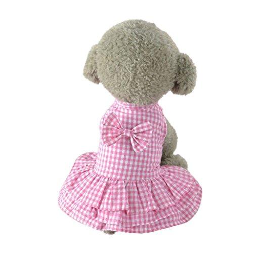 Vestidos para Perros, Impresión A Cuadros Vestido de Princesa, Ropa Bowknot Falda para Mascotas, Vestido de Tutú para Perro y Gato para Primavera y Verano, Chihuahua Yorkshire, Rosado Azul